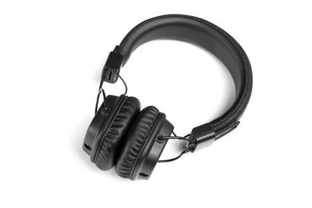 black headphones closeup isolated on white background