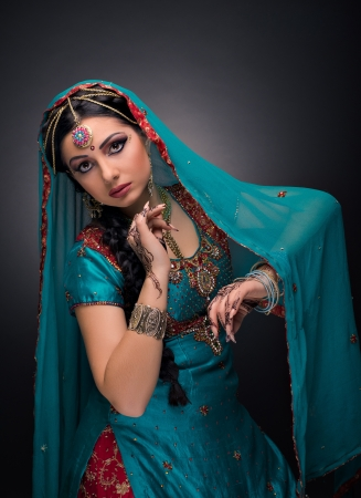 sari: A beautiful Indian princess in national dress