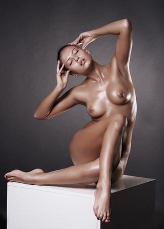 beautiful woman in studio photo