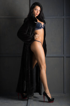 manteau de fourrure: Photo de la belle femme en lingerie, manteau, fourrure