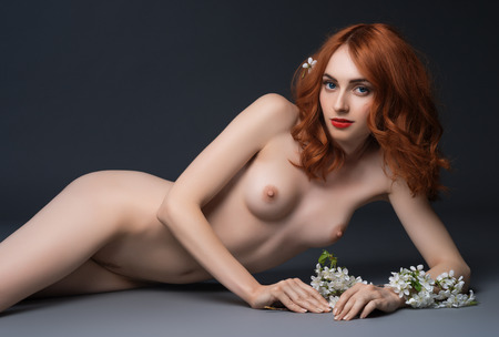 nude pose: Nude girl posing in studio