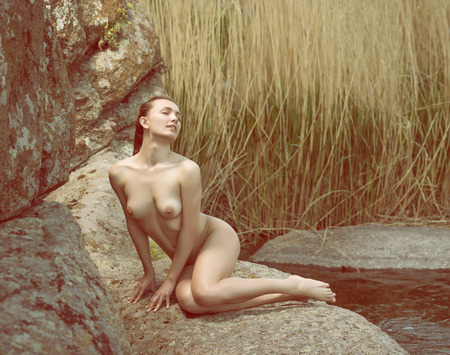 nude girl young:  Young nude girl posing in nature