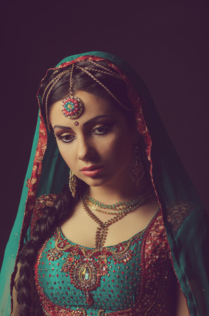 sexy bride: A beautiful Indian princess in national dress