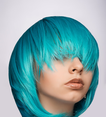 punk hair: Portrait of a punk girl with blue hair