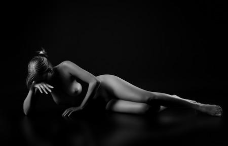 glamour nude: Beautiful girl posing naked Stock Photo