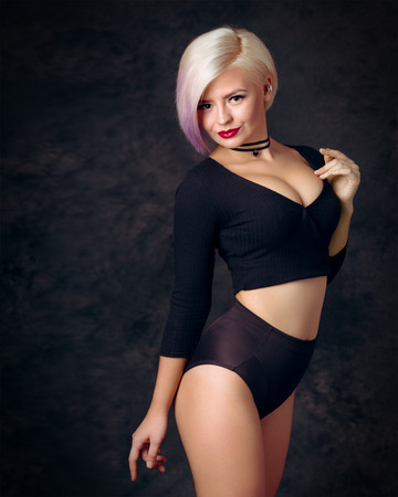 subculture: Portrait of a young blonde woman, subculture stylized