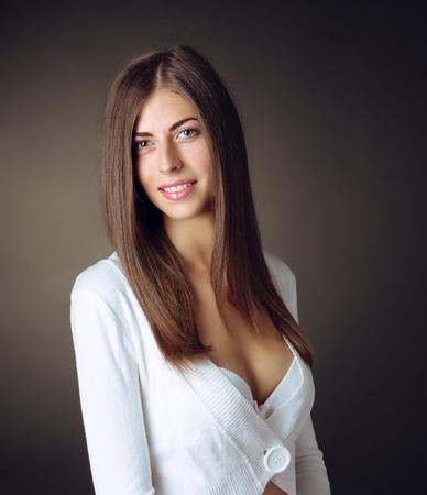 overbearing: The girl in underwear posing in studio Stock Photo