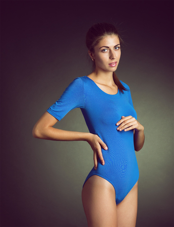 maquillage: The girl in underwear posing in studio Stock Photo