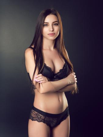 overbearing: Slim brunette in lingerie
