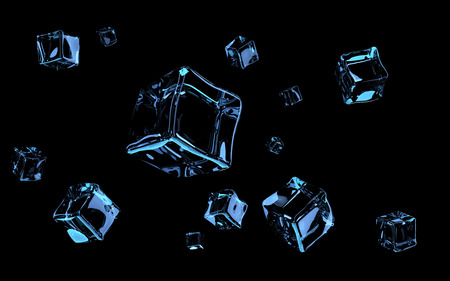 Movement of space in ice. 3D rendering.