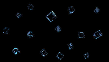 Transparent ice cubes or glass on a black background Reklamní fotografie