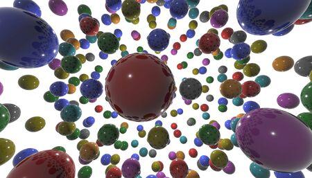 Animation of 3D shiny, colored balls for children. 3d illustration.