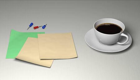 3d illustration of a workplace in the office.