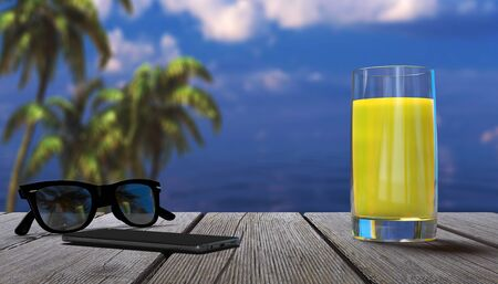 Summer vacation in a tropical resort near the sea. 3d illustration.
