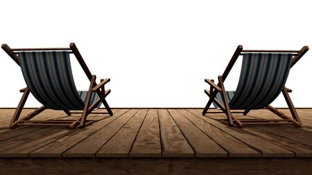 Two chairs, a deck chair for relaxing at sea in the tropics. 3d illustration.