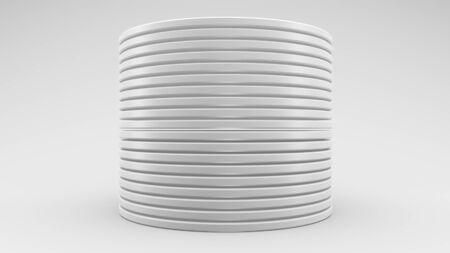 3D illustration white discs on a white background.