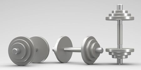 3D illustrations.Sports equipment dumbbells for bodybuilding in the gym.