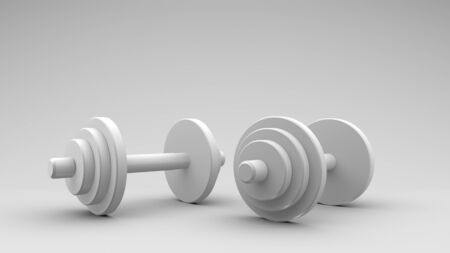 Sports equipment dumbbells for bodybuilding in the gym. Stockfoto