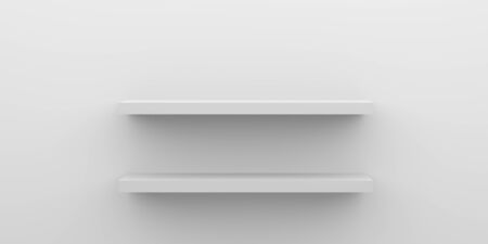 Front view of empty shelf on white table and wall  with modern minimal concept. Stockfoto