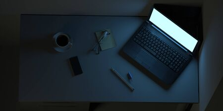 Workplace in the office with laptop and coffee. Business background. 3d illustration
