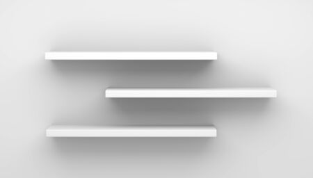Furniture 3D illustration. Front view of empty shelf on white table and wall background with modern minimal concept.