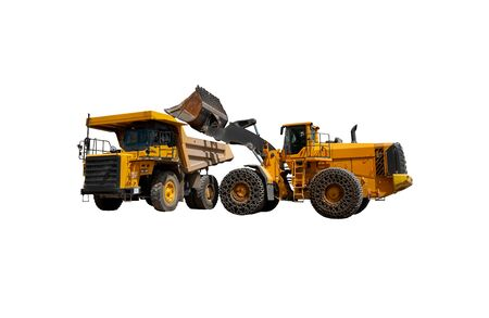 Career workflow. Mining truck and excavator. Career bulldozer. Extraction from the bowels of the earth.