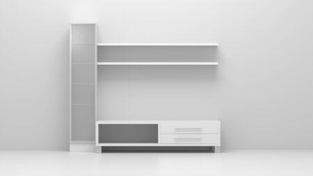 3d illustration furniture in the interior of a bright room. Art concept, design. Stockfoto