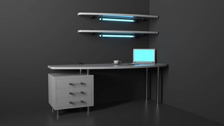 3d illustration concept of modern table, workplace for computer