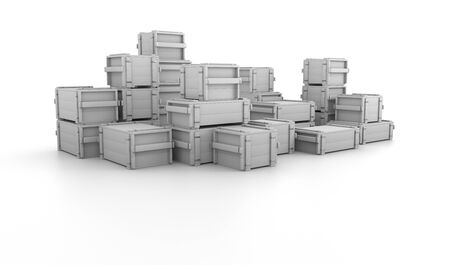3d illustration many white boxes stacked uphill. Background boxes for storing things.