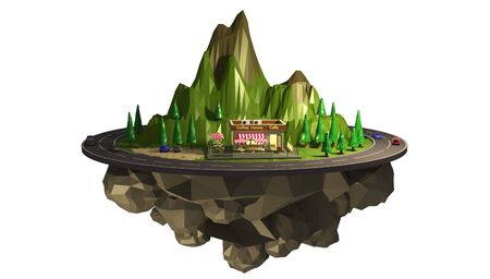 3d illustration of a roadside cafe, a coffee house on a mountain road. Travel Vacation Concept