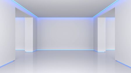3D illustration white interior. Concept background bright room