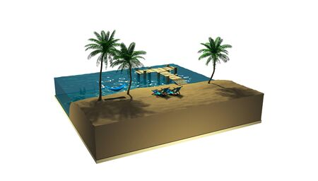 3d render tourism on tropical islands. Holidays at sea among palm trees in summer