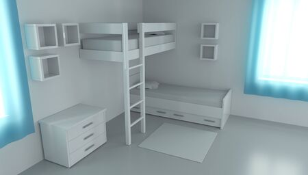 3D rendering children's bedroom for two children. Compact bedding in the interior. Reklamní fotografie