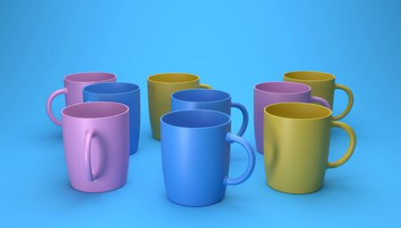 3d render of different color cups on a blue background.