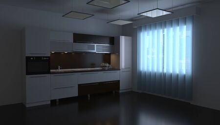 3d rendering design of a kitchen room in a home interior Reklamní fotografie