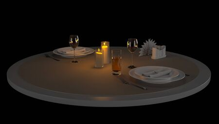 3d render romantic table in a restaurant for two by candlelight. Reklamní fotografie