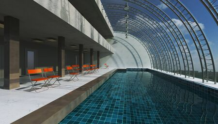 3D rendering interior swimming pool. Modern design hall hi-tech concept. Reklamní fotografie