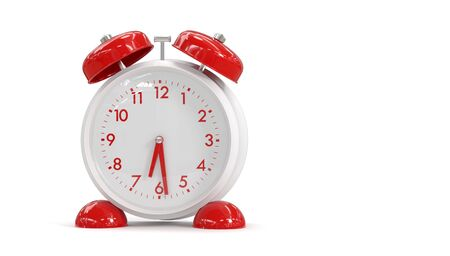 3D rendering alarm clock on a white background. Time to wake up.