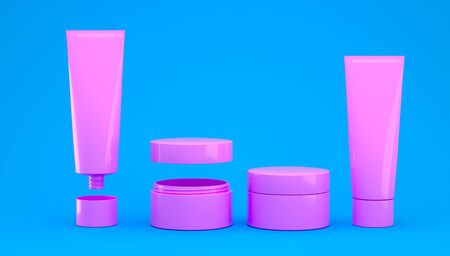 3d render cosmetic set of creams and skin care products for makeup and cleansing of human skin. Healthy lifestyle skin care