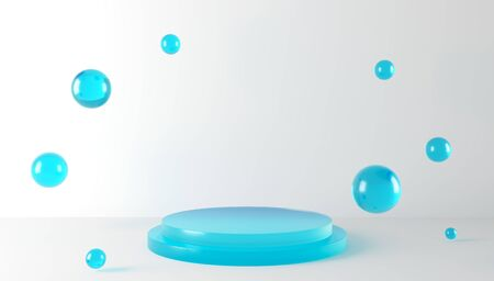 3D render podium and transparent glass balls on a white background. Concept blank for advertising