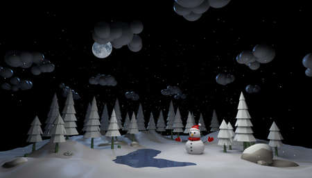 Mary Christmas and new year background animation. Snowman and New Year's weather in the forest 3d illustration,
