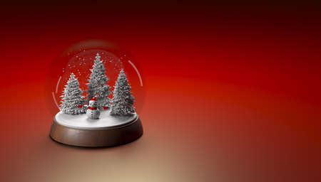 Mary Christmas and new year background animation. Christmas toy with a snowman 3d illustration, Reklamní fotografie