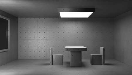 3d render concrete structure interior. Police interrogation room.