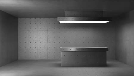 3d render concrete structure interior. Morgue room with cutting table