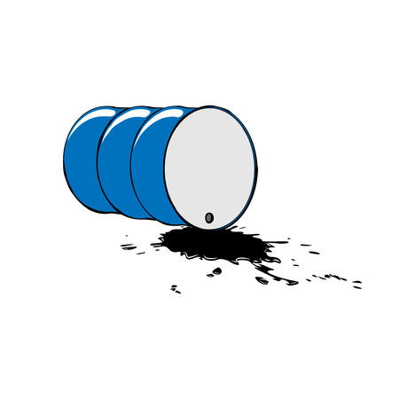 Oil barrel and pool. Vector