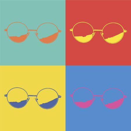 Glasses in Pop-Art Style.