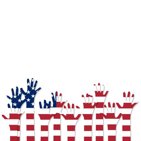 Vote. Hands in the colors of the flag of the United States of America.