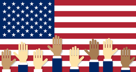 voters: Vote. Raised hands on the background of the USA flag.