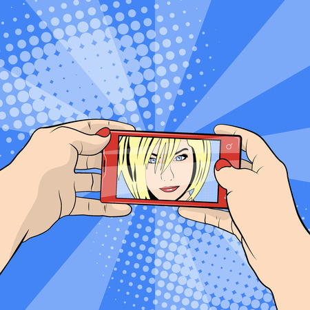 Girl doing selfie. Smartphone in hand.