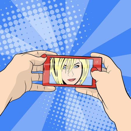 smartphone hand: Girl doing selfie. Smartphone in hand.